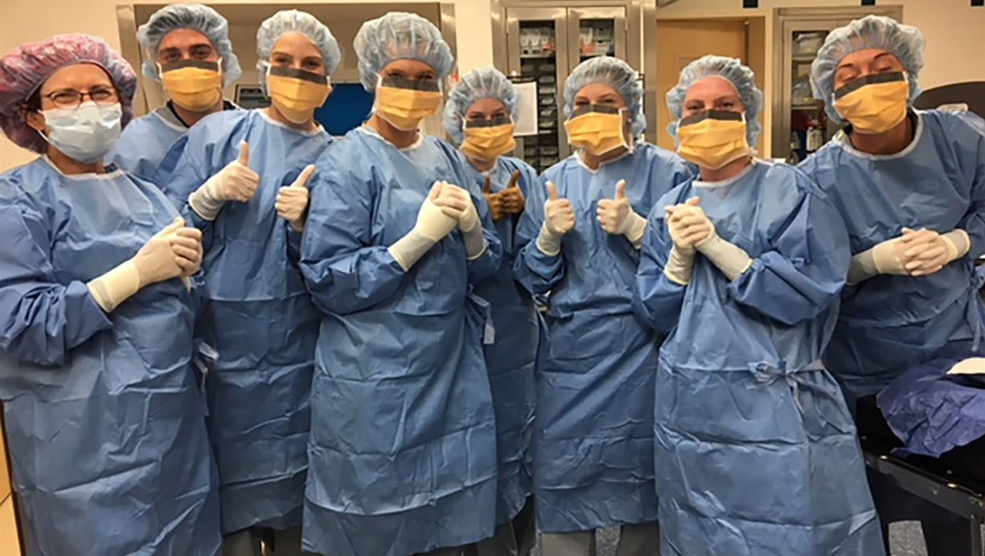 PA Program students at their OR scrub training at Yale New Haven Hospital