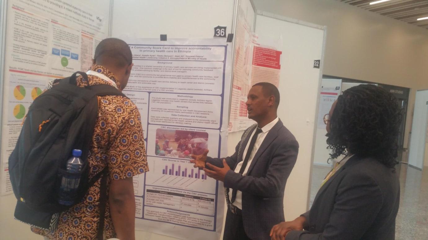 GHLI team member Aklilu Abera presenting poster at the Africa Health Agenda International Conference in Kigali, Rwanda March 2019