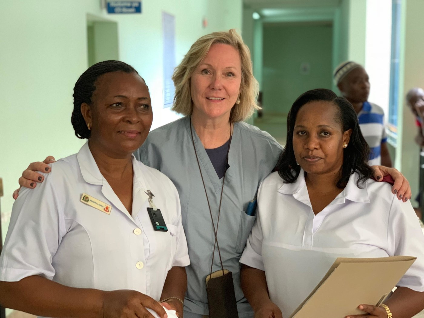 Combined nursing excellence from Yale and Muhimbili. From left to right: Bridgita Fwaja, Jeanne Burke, and Rose Umbe.