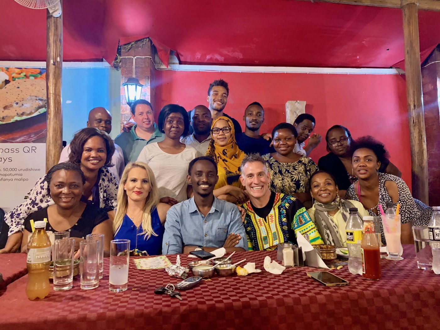Farewell dinner with trainees and faculty from Muhimbili and Emory.