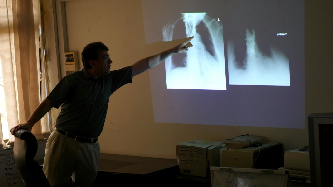 Dr. Zenon Protopapas of the West Haven VA Hospital in Connecticut, puts a fine point on a chest X-ray interpretation.