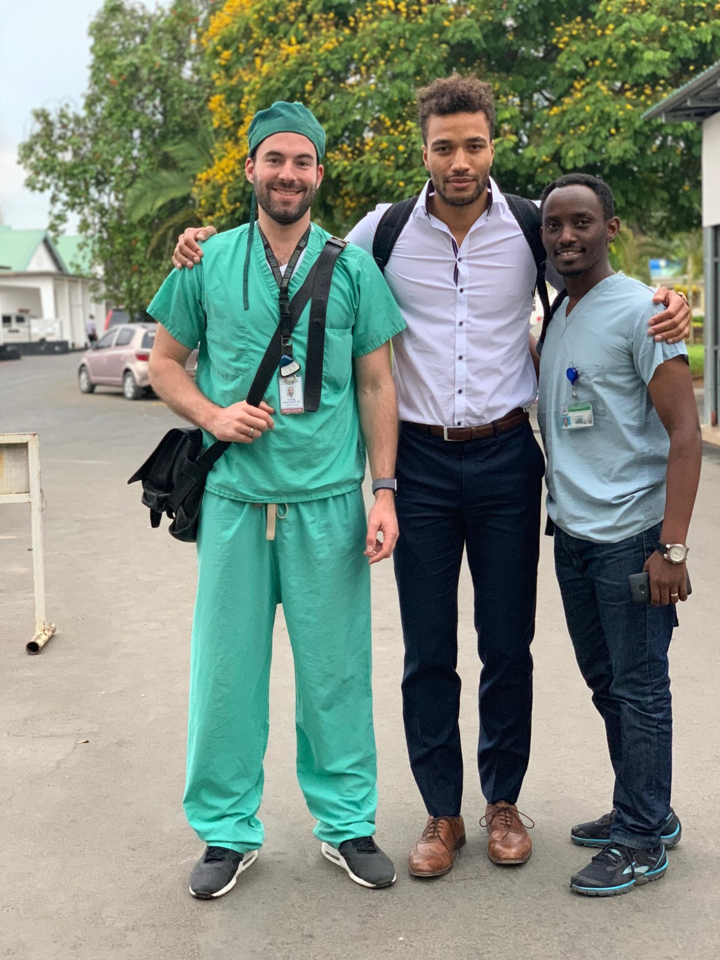 Visiting IR resident Dr. Fabian Laage Gaupp from Yale (left), with visiting medical student Jonathan Apasu from Bonn (middle), and Ivan Rukundo (right), MUHAS IR resident.