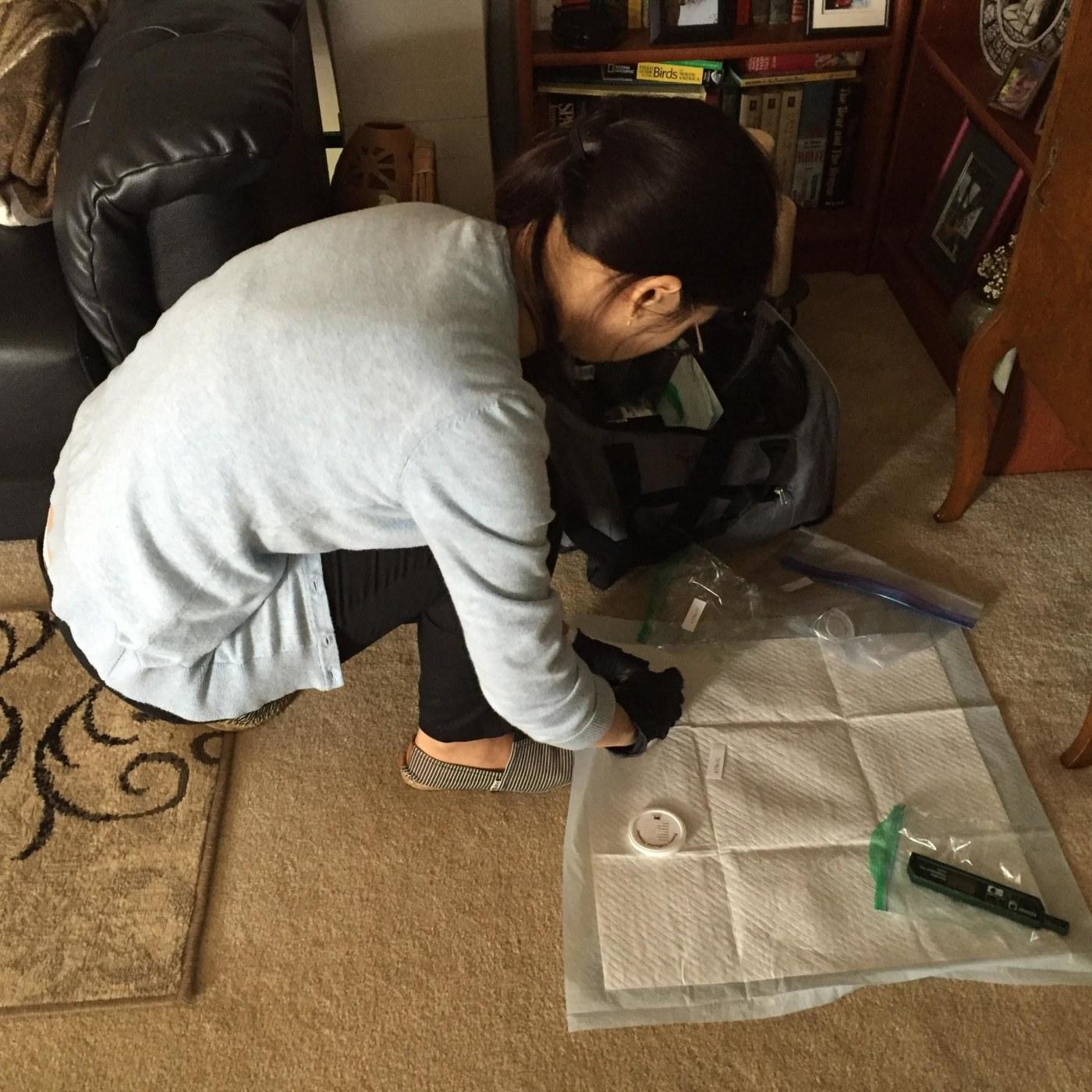 Setting up air sampler