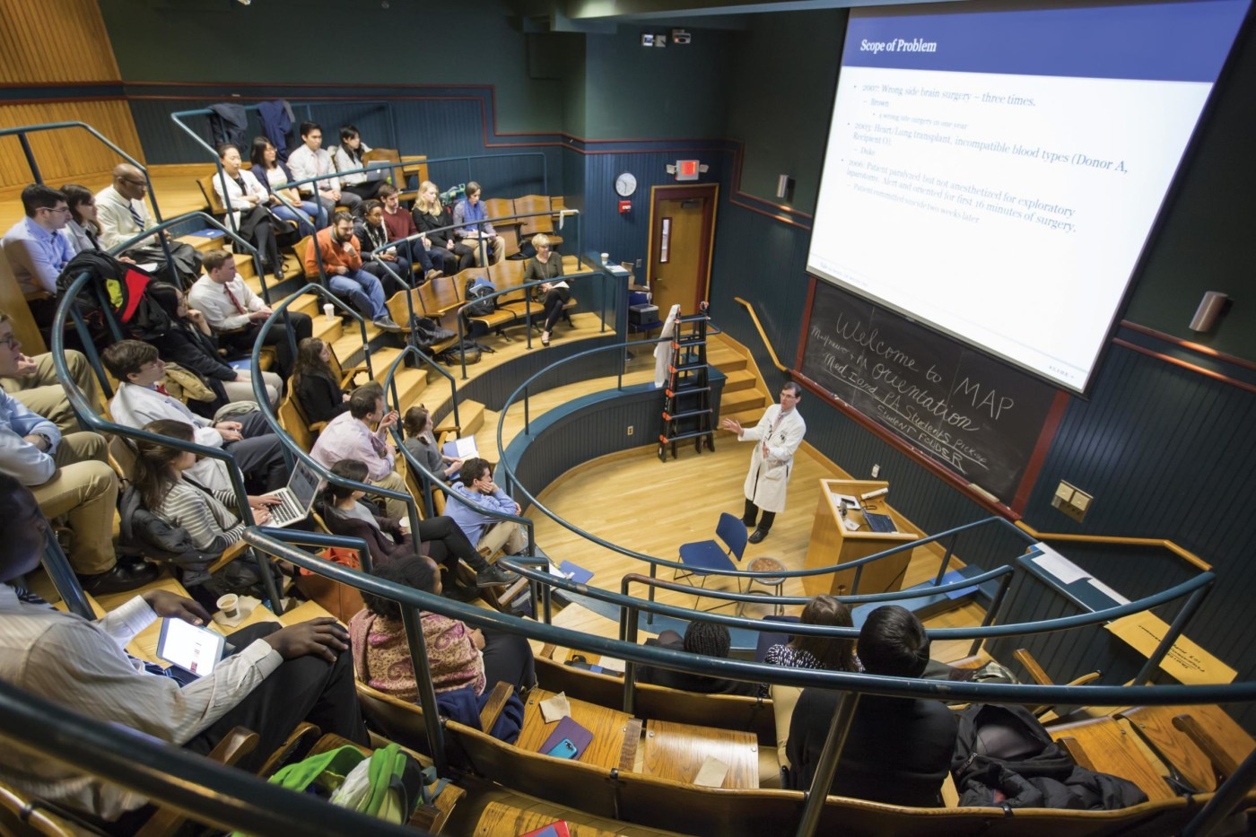 Robert Fogerty, an assistant professor of medicine, discussed cases of medical errors with third-year students as they began a new clerkship in March