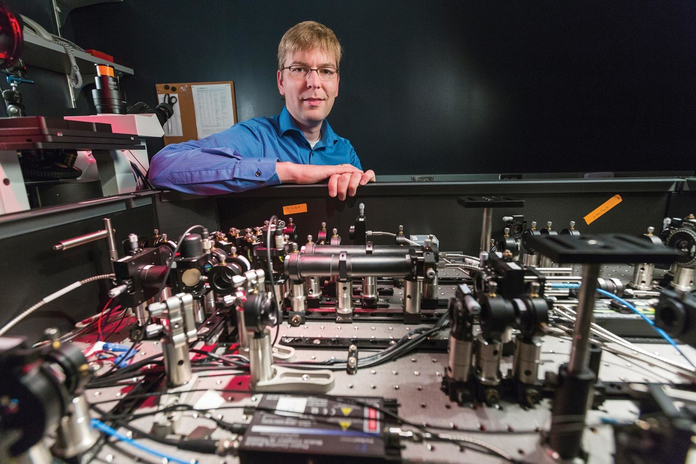 Joerg Bewersdorf trained in physics, but now works with cell biologists looking for images of ever-smaller cellular structures