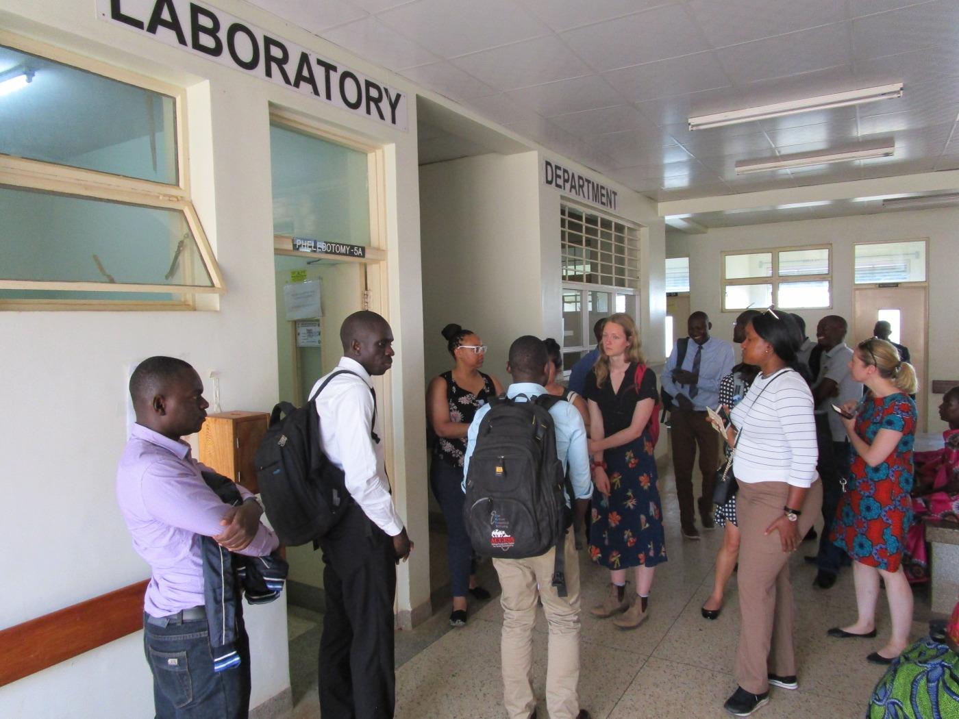 Members of NGN and Ugandan collaborators tour the Laboratory Department at Nakaseke Regional Hospital.