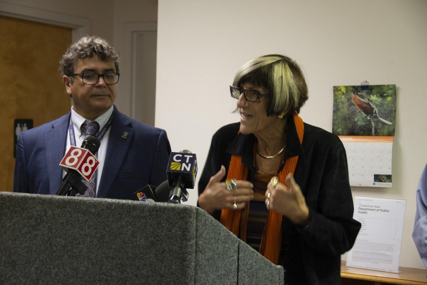 Rosa DeLauro (Right) and Vasilis Vasiliou (Left)