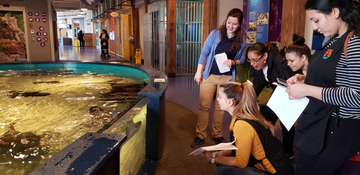 Parent Scholars participating in a STEM education workshop at The Martime Aquarium