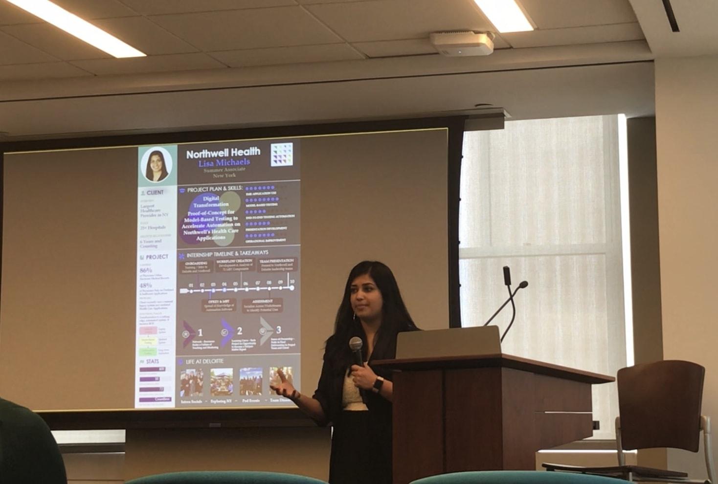 Lisa giving her presentation