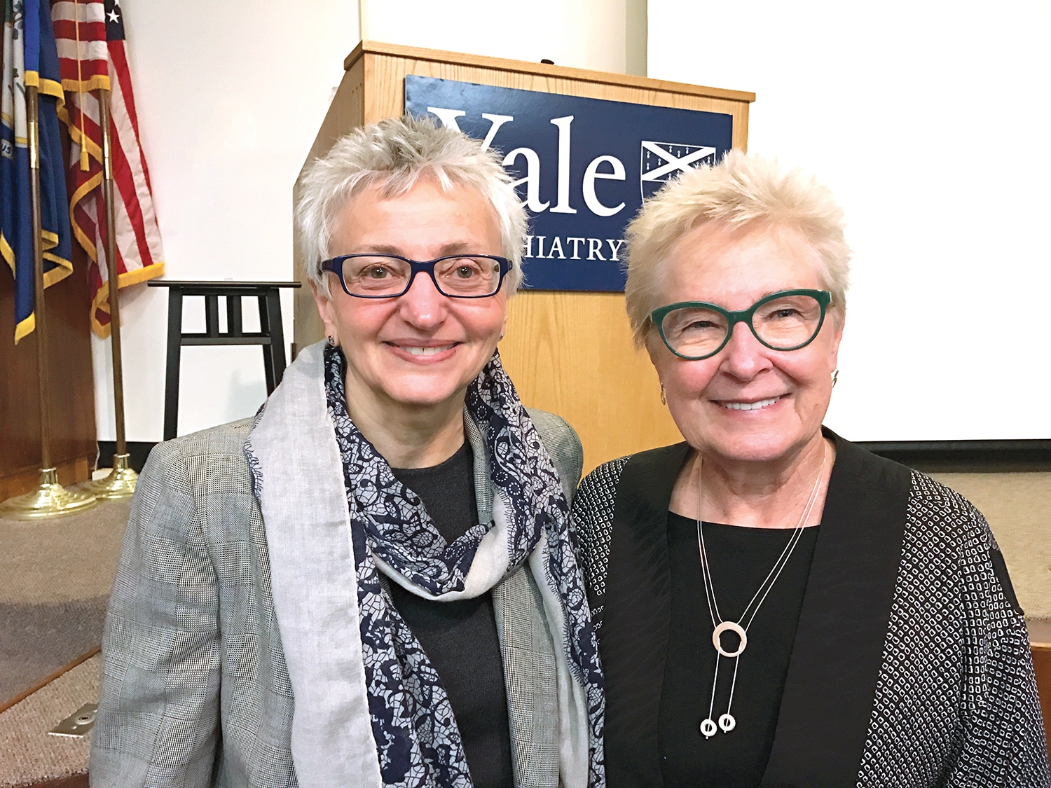 WHRY Director Dr. Carolyn M. Mazure, left, invited Dr. Constance Hammen, right, to share her expertise in stress and depression at Yale School of Medicine in May.