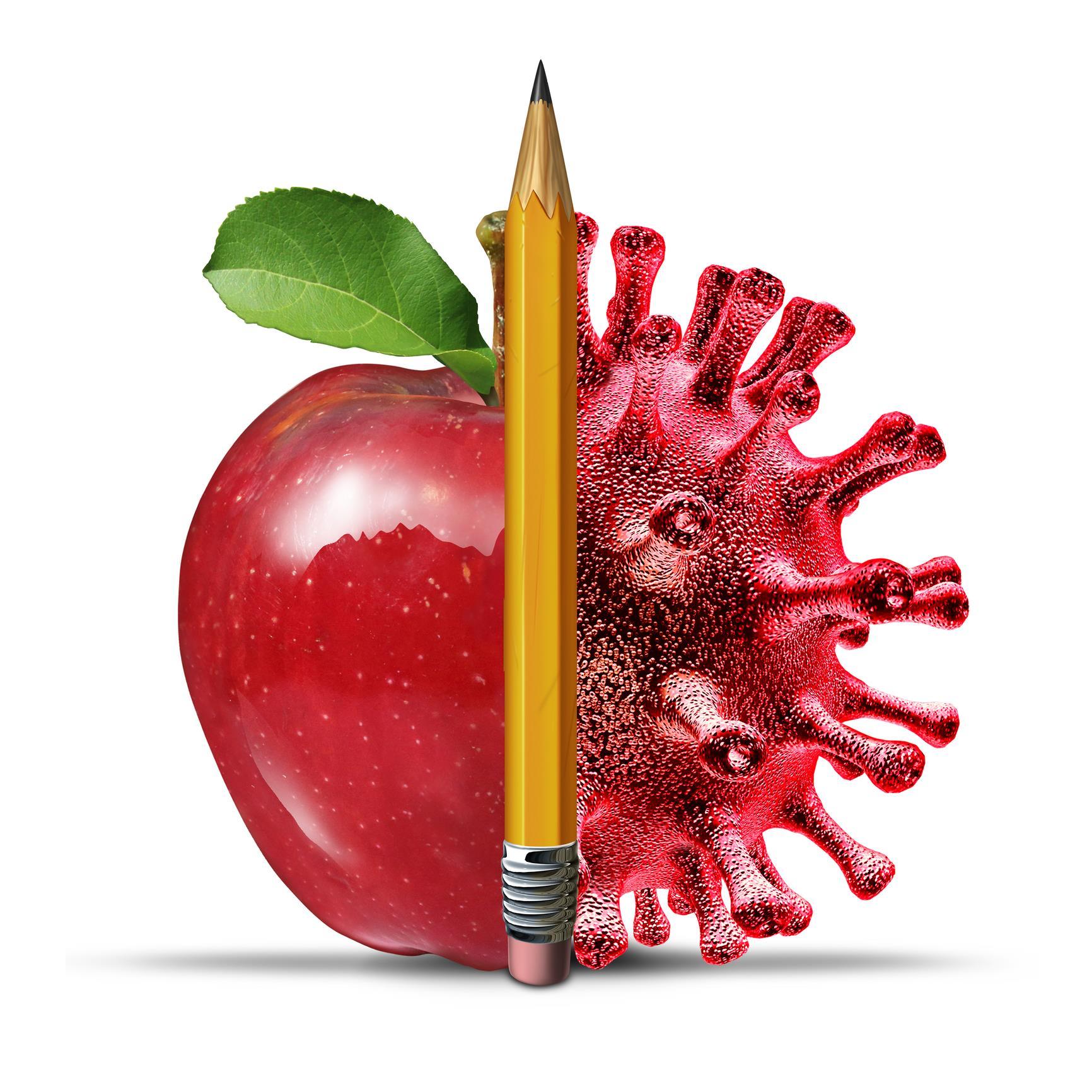 apple, pencil and covid molecule