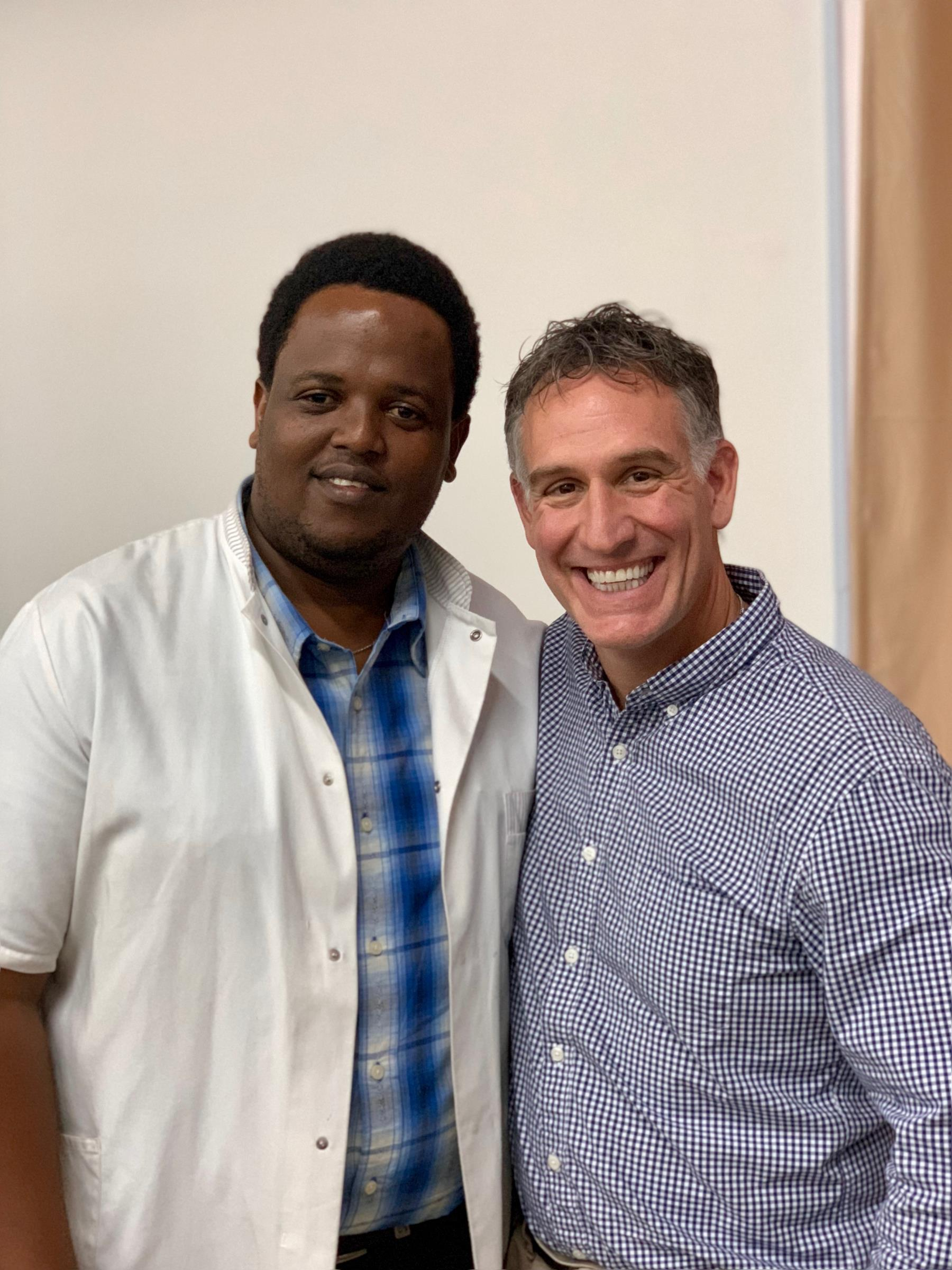 Tanzanian IR resident Dr. Erick Mbuguje with visiting IR faculty Dr. David Prologo from Emory.
