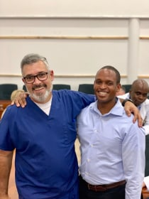 Dr. Pedro Torres, Imaging HOD at Comprehensive Community Based Rehabilitation in Tanzania (CCBRT) with Dr. Frank Minja from Yale.