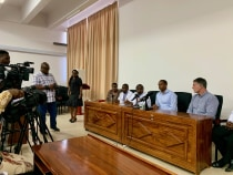 Drs. Praxeda Ogweyo, Godfrey Mchele, Flora Lwakatare, Frank Minja, and David Prologo during a press conference at the end of the first two weeks of the IR program.