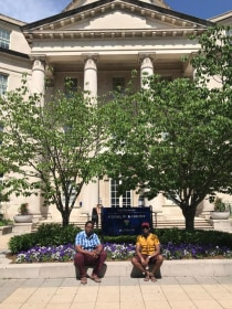 Drs. Erick Mbuguje and Ivan Rukundo in front of Yale Medical School