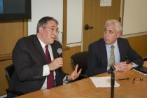 (Left to Right) Dr. Adam Hittelman and Mark Siegel, MD Professor of Medicine; Co-Chair, Ethics Committee, Yale-New Haven Hospital; Program Director, during the Q&A session at the seminar