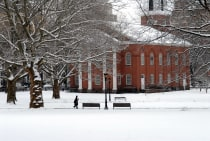 Church on the New Haven Green in winter.