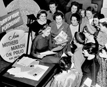 Celebrities joined in the campaign against polio. In 1954 actress Grace Kelly distributed March of Dimes literature to leaders of the Mothers' March on Polio.