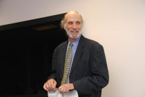 Stephen Bergman, who wrote House of God, a novel about his residency in Boston, under the pen name Samuel Shem, was the featured speaker at grand rounds in January.