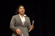 Alejandra Corona, a student in the HPREP program, read a poem.