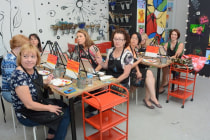 About 30 people from across Yale, including the School of Medicine, took a lunchtime painting class in August. The class is designed for people to get away from the stress of the lab or office.