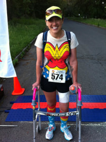 Using a walker, Colleen Kelly Alexander