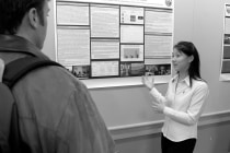 Jennifer Lee, a second-year medical student, explained her research on sensory phenomena in Tourette syndrome and obsessive-compulsive disorder in Brazil.
