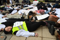 Yale medical students lay on the ground for four and a half minutes, to represent the four and a half hours that the body of Michael Brown lay on the street in Ferguson, Mo.