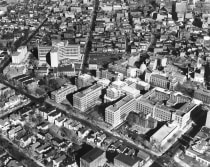 An aerial view of the medical campus from the 1950s