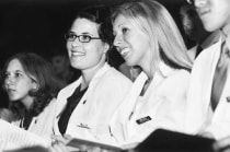 Charisse Orme and Keri Oxley shared a laugh during the White Coat Ceremony.