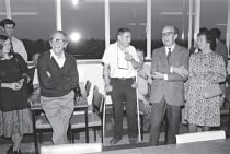 Among the luminaries at the Medical Research Council's Laboratory of Molecular Biology (LMB) were Fred Sanger, Sydney Brenner and Max Perutz, shown here at a party at the laboratory's canteen in 1980 celebrating Sanger's second Nobel Prize. Brenner receiv