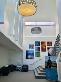 lobby with artwork and stairs