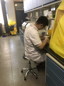 Peiyuan working at a lab bench