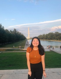 Tiffany with Washington Monument in the background