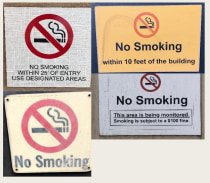 4 different no smoking signs