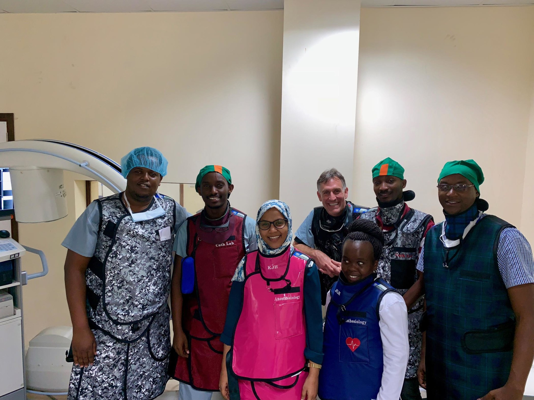 Tanzanian IR residents with Dr. Prologo, visiting faculty from Emory. From left to right: Drs. Erick Mbuguje, Ivan Rukundo, Azza Naif, Mwivano Shemwetta, Ziad Byekwaso, and Dennis Mosha.