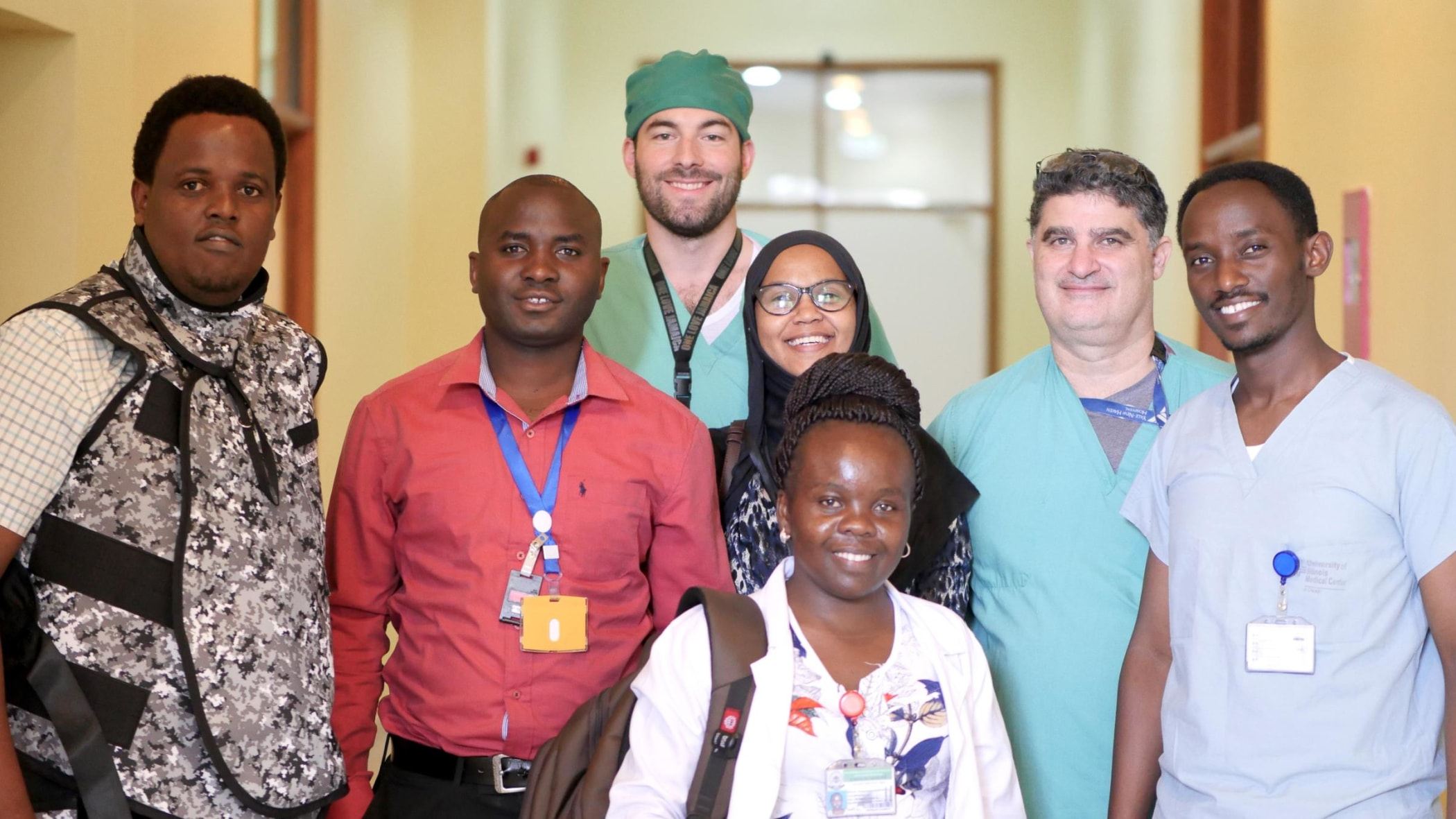 IR team after a long day of procedures. From left to right: IR resident Dr. Erick Mbuguje, IR technologist Basilio Fabian Maha, visiting IR resident Fabian Laage Gaupp, IR residents Dr. Azza Naif and Dr. Dr. Mwivano Shemwetta, visiting IR faculty Dr. Douglas Silin, and IR resident Ivan Rukundo.