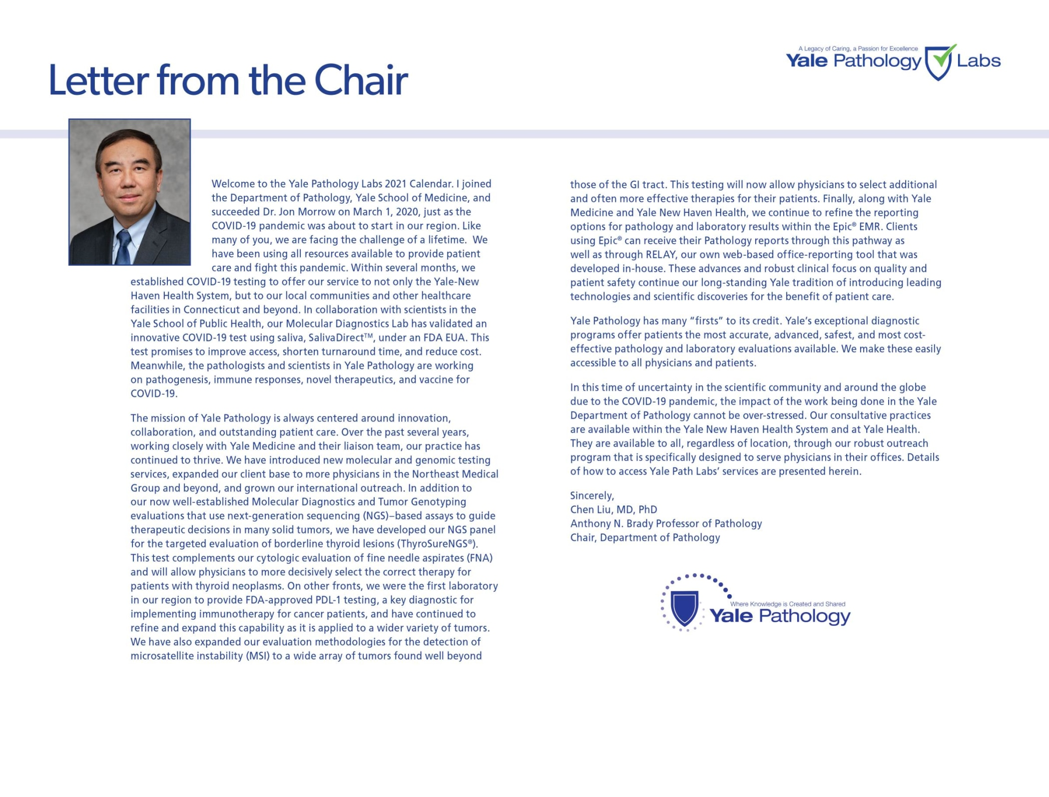 Yale Pathology Labs Calendar 2021 - Letter from the Chair