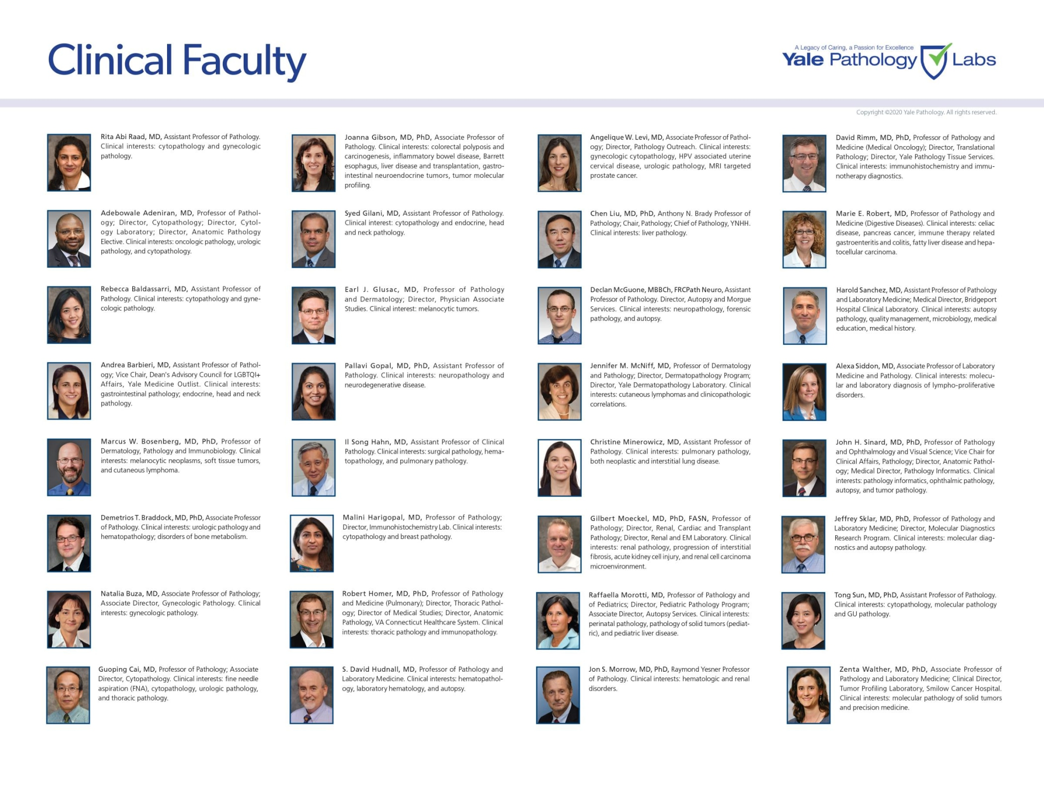 Yale Pathology Labs Calendar 2021 - Clinical Faculty page 1