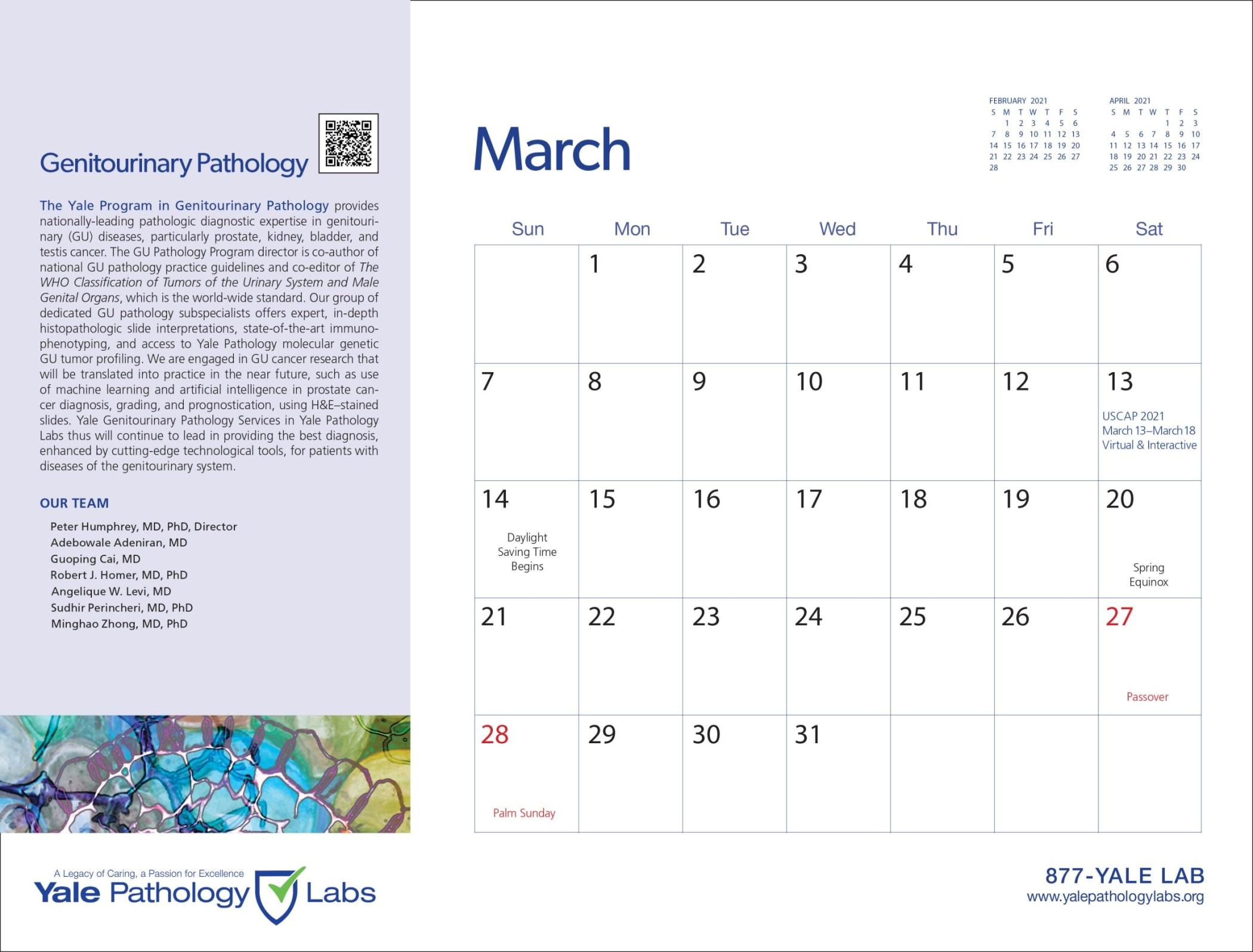 Yale Pathology Labs Calendar 2021 - March - GU
