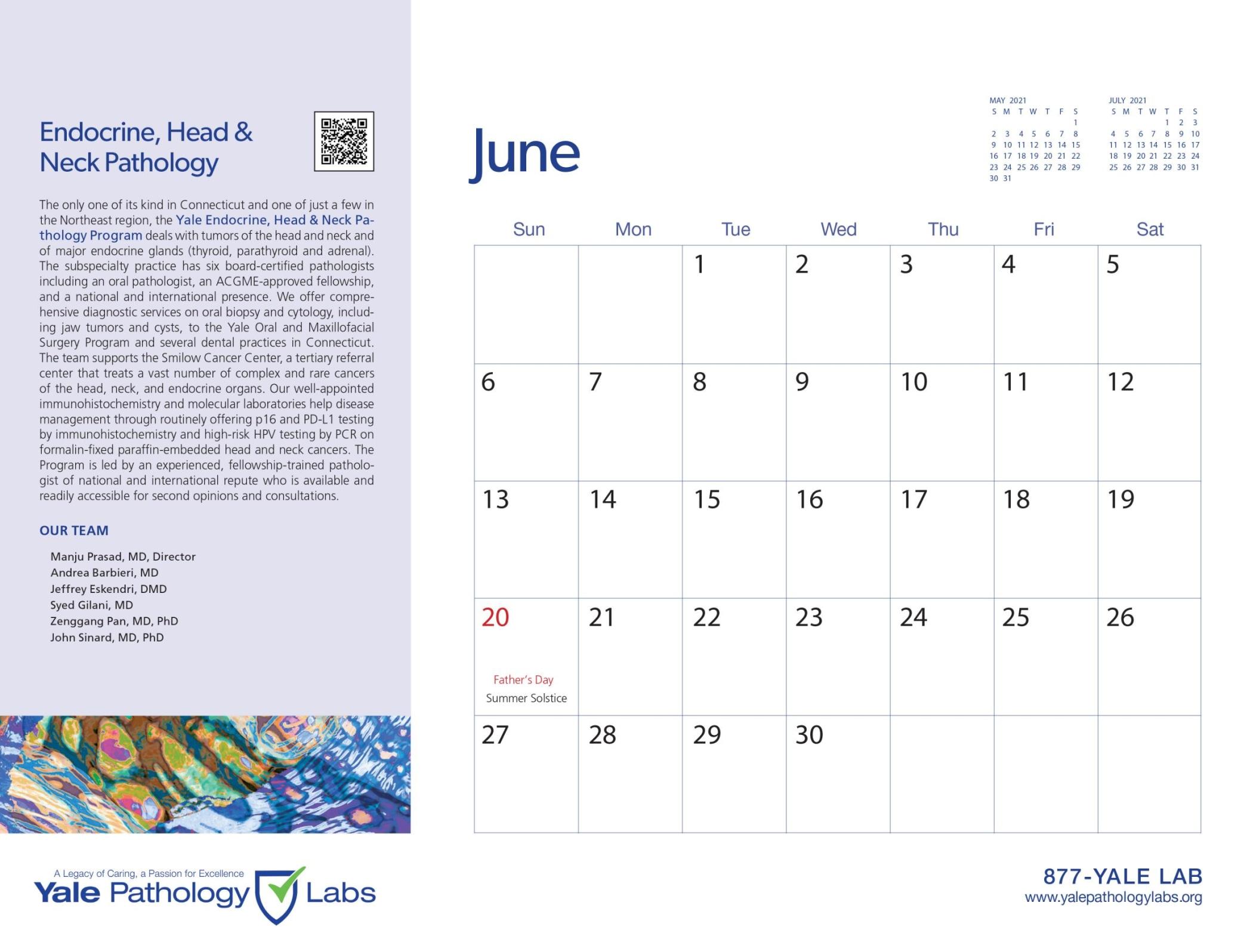 Yale Pathology Labs Calendar 2021 - June - Endocrine, Head and Neck Pathology
