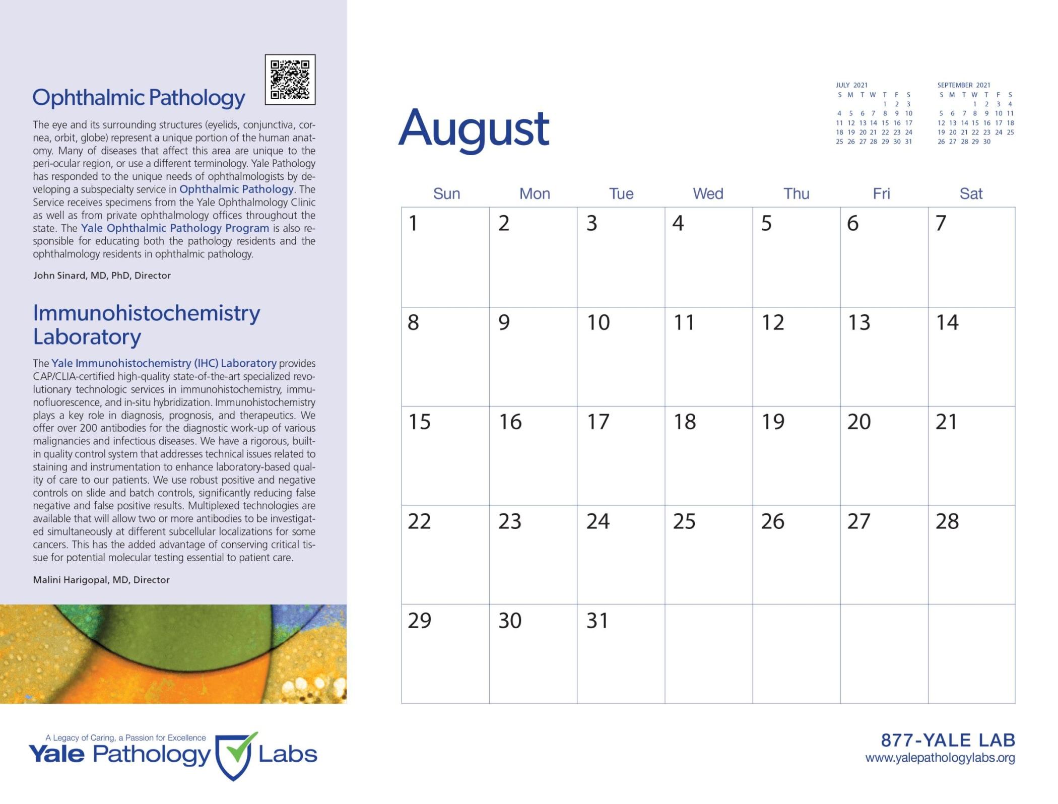 Yale Pathology Labs Calendar 2021 - Ophthalmic Pathology and Immunohistochemistry Lab