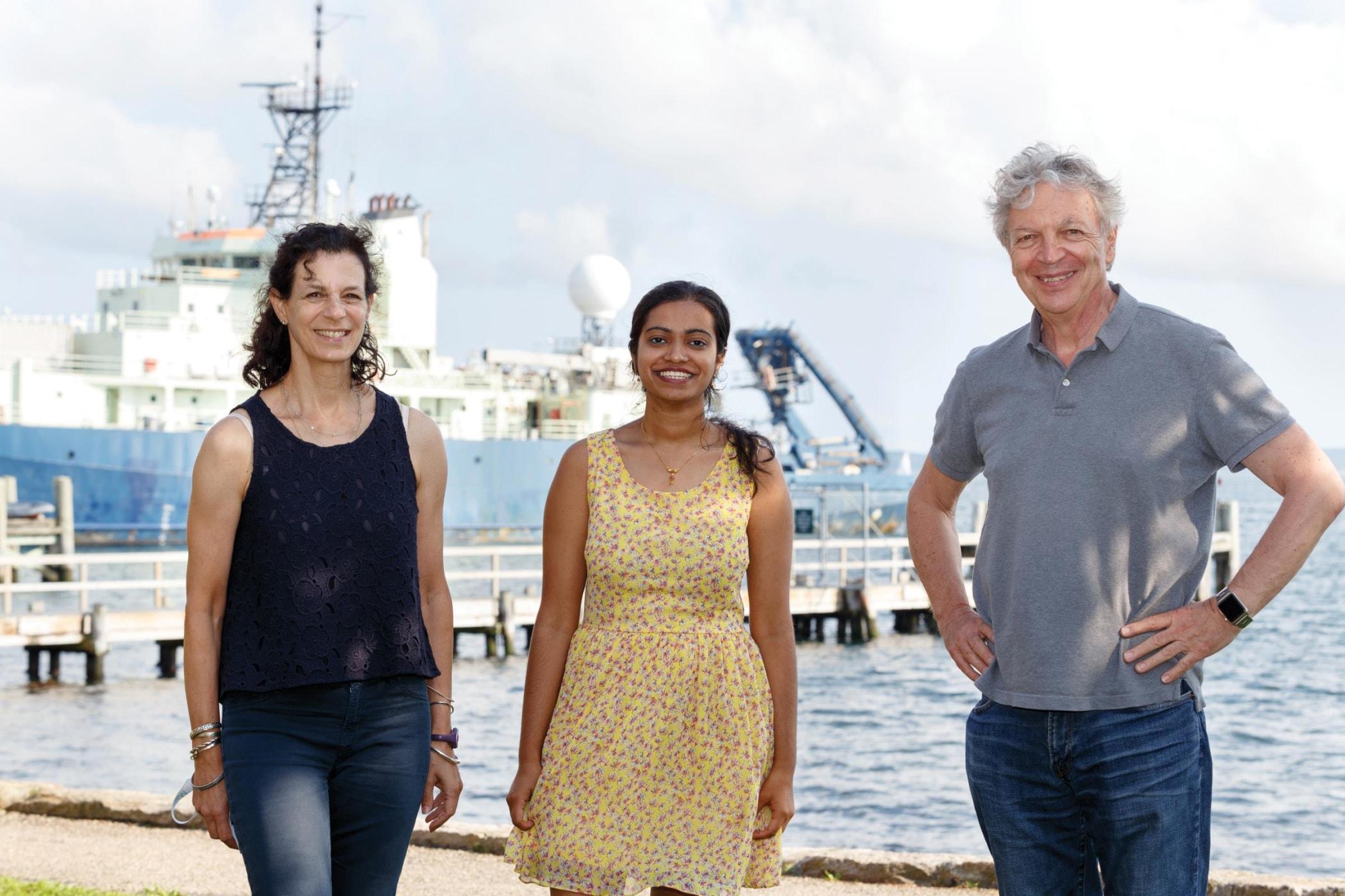 Shobana Subramanian (center) with Elizabeth Jonas (left) and Leonard Kaczmarek at Woods Hole's Marine Biological Laboratory