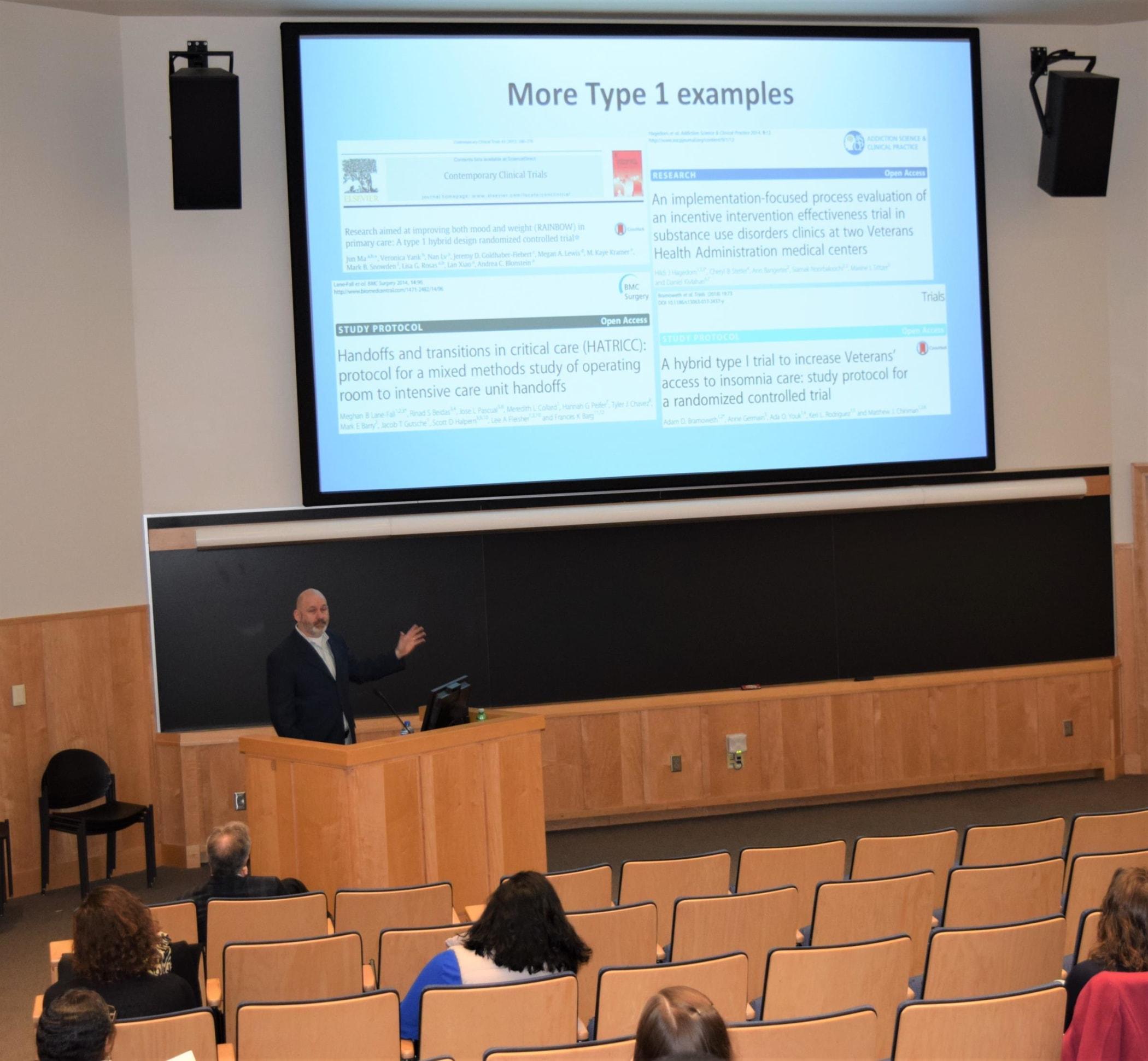 Dr. Geoff Curran presenting on 'Hybrid Effectiveness-Implementation Designs'