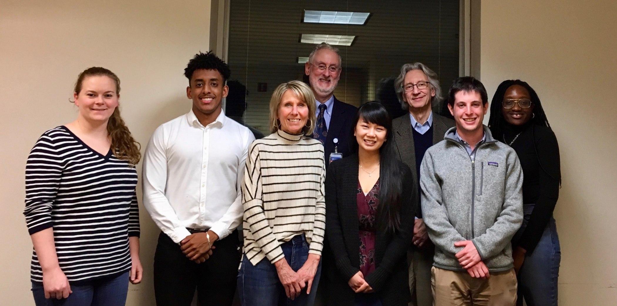 NHP student leaders and medical advisors, Front, from left to right: Alexandra Mountford (YSN '21), Kedous Mekbib (YSM '22), Dr. Robin Whittemore (YSN), Kathy Doan (YSN '21), Daniel Jacobs (YSM '21), and Jessica Ainooson (YSPH '22). Back, from left to right: Dr. Paul Genecin (YSM) and Dr. Jeffrey Bender (YSM).