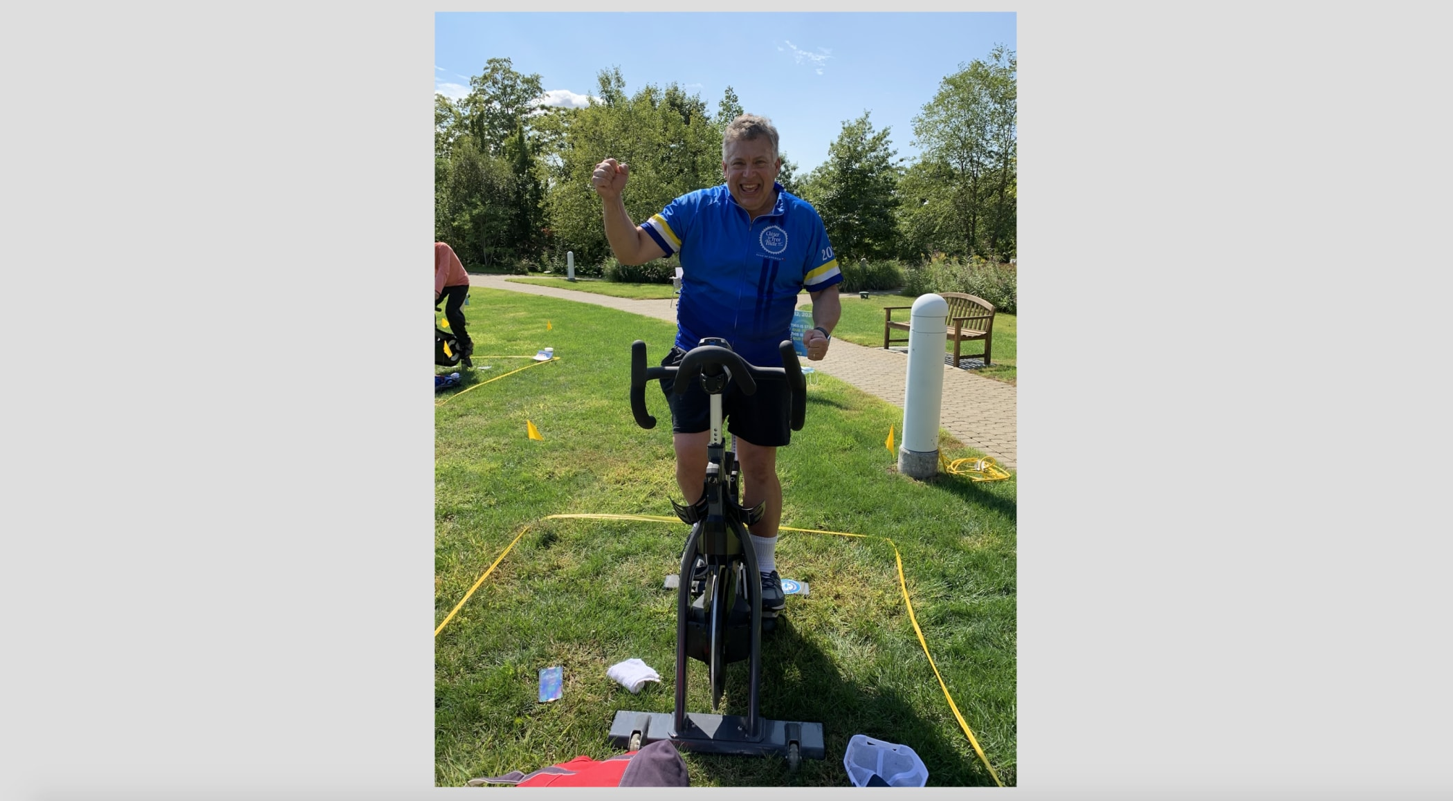Dr. Roy Herbst joining the group spinning!