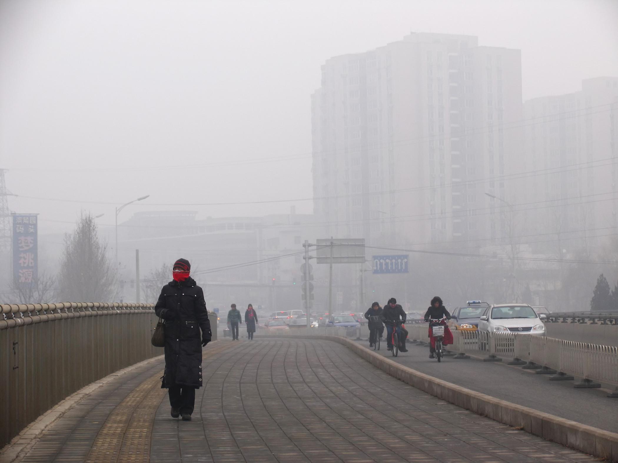 Air pollution in an urban city