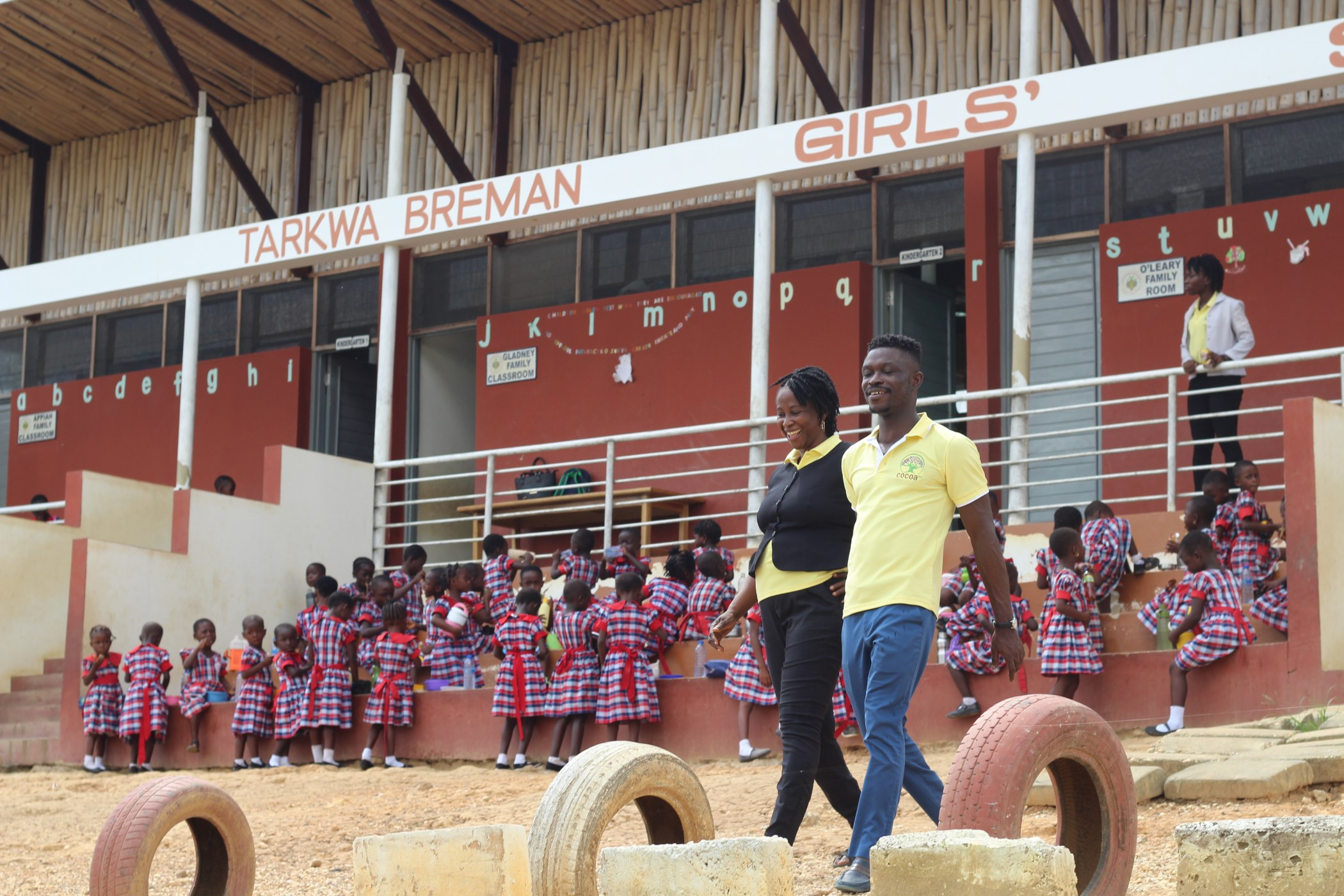 Shadrack Frimpong and Mrs. Janet Anafo, Headmistress of Tarkwa Breman Girls School