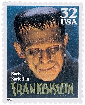Films from the 1930s produced this enduring image of Victor Frankenstein's monster, here on a U.S. postage stamp.