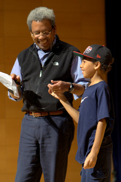 Forrester Lee, associate dean for multicultural affairs, opened the Grannum Jamboree with the help of his son, Tanner A. Lee.